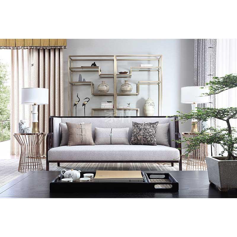 实木布艺沙发品牌_新中式风格布艺单体洽谈沙发-家样